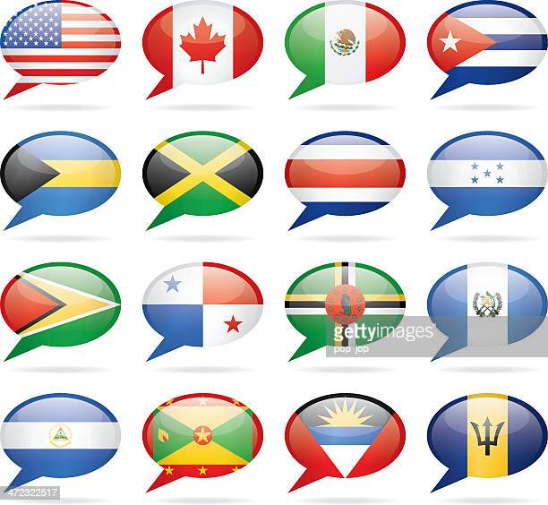 speech bubble north and central america flags - jamaican culture stock illustrations, clip art, cartoons, & icons