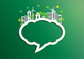 Speech bubble of green city of environment concept paper art style