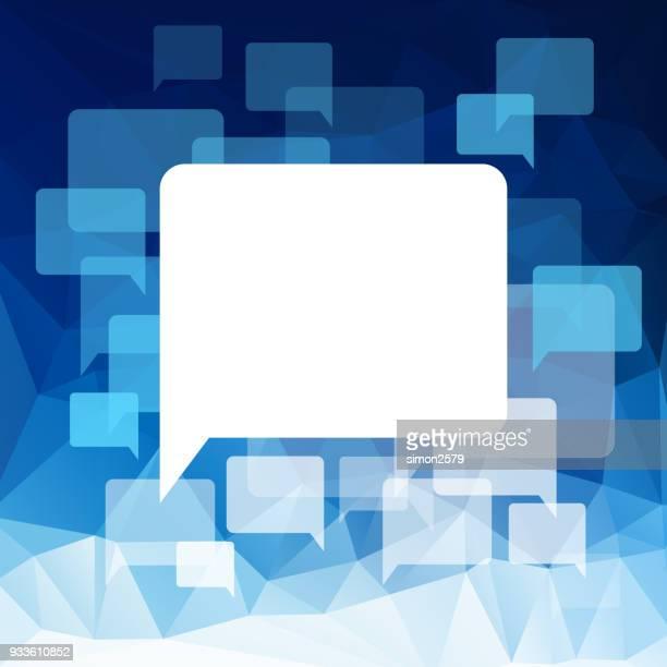 sprechblase auf abstrakten geometrischen hintergrund - sprechblase für internetchat stock-grafiken, -clipart, -cartoons und -symbole