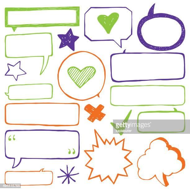 speech bubble set - rectangle stock illustrations