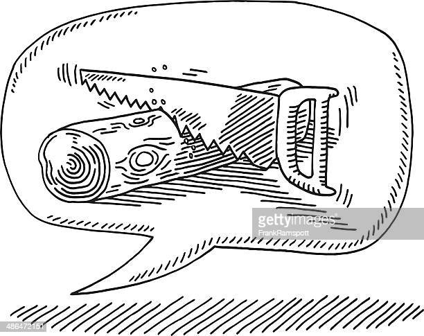 speech bubble snore noise wood saw drawing - tree trunk stock illustrations, clip art, cartoons, & icons