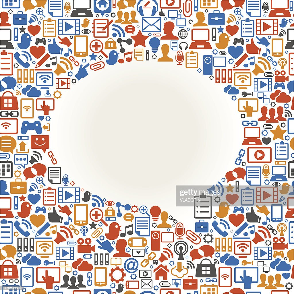Speech bubble surrounded by social media icons