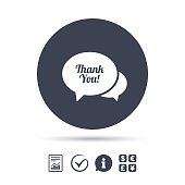 Speech bubble thank you icon. Customer service.