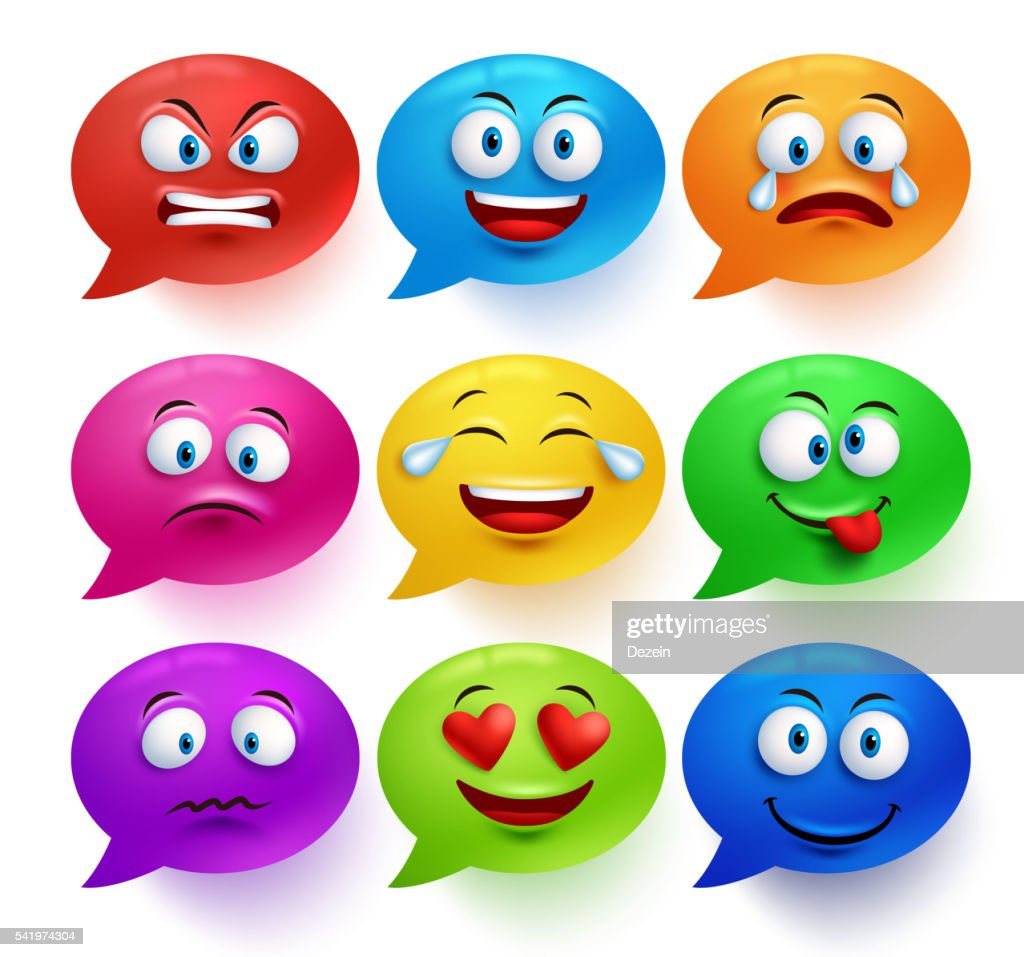 Speech bubble vector colorful set with facial expressions and emotions