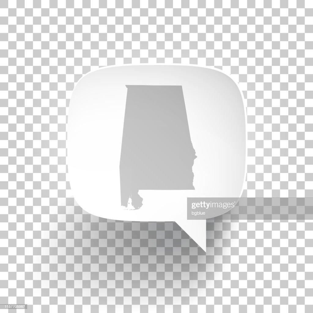 Speech Bubble with Alabama map on blank background : Stock Illustration