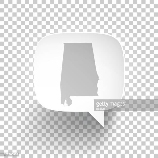 ilustrações, clipart, desenhos animados e ícones de bolha do discurso com o mapa de alabama no fundo em branco - birmingham alabama