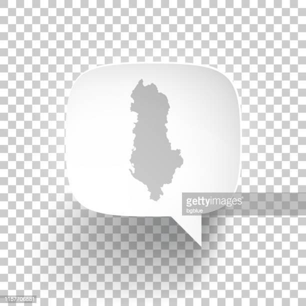 speech bubble with albania map on blank background - tirana stock illustrations, clip art, cartoons, & icons