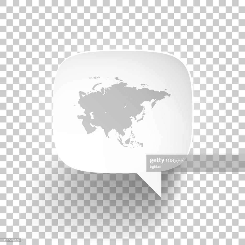 Speech Bubble With Asia Map On Blank Background High-Res ...