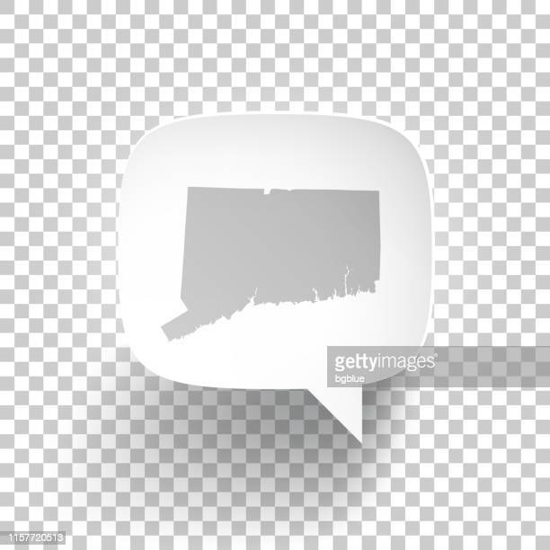 Speech Bubble with Connecticut map on blank background
