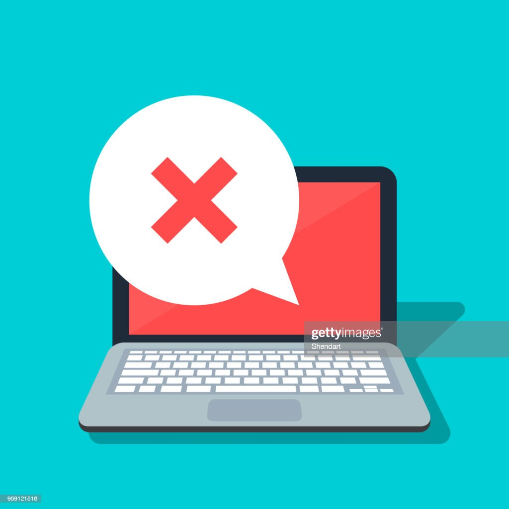 Speech bubble with cross on the laptop background. Error or rejection icon. Negative answer. Flat vector illustration isolated on color background. : stock illustration
