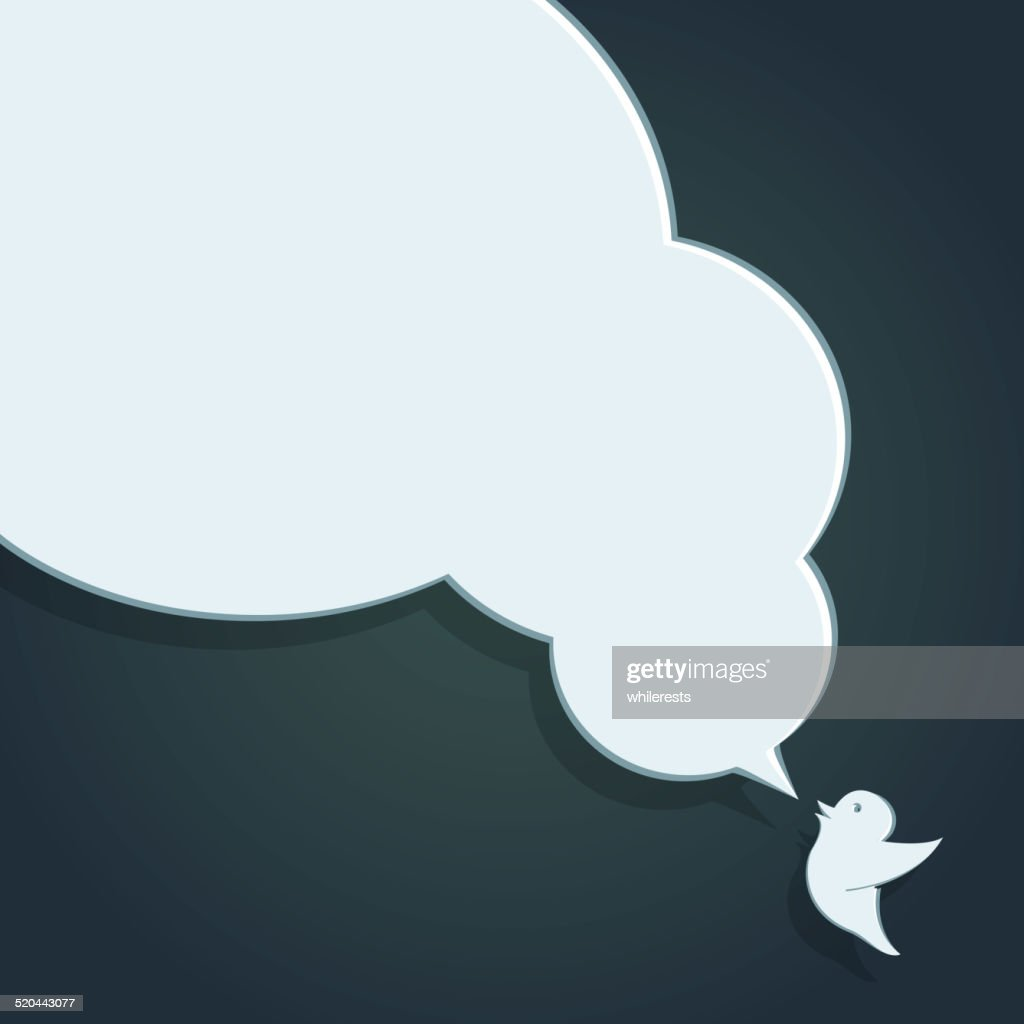 Speech Bubble with Crow in its beak. Flat design.