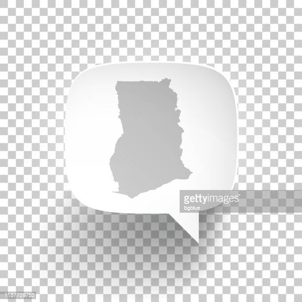 speech bubble with ghana map on blank background - accra stock illustrations, clip art, cartoons, & icons