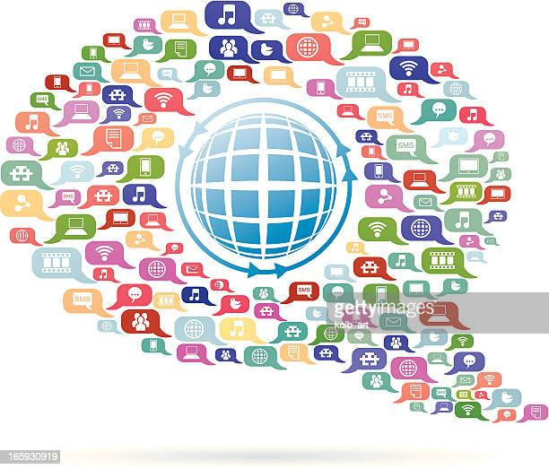 speech bubble with globe - emitting stock illustrations, clip art, cartoons, & icons