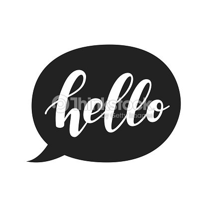 Speech Bubble With Hello Quote Hand Drawn Lettering Modern Brush