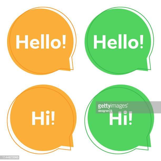 speech bubble with hello.eps - speech stock illustrations