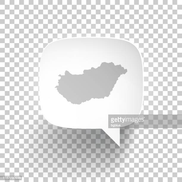 Speech Bubble with Hungary map on blank background