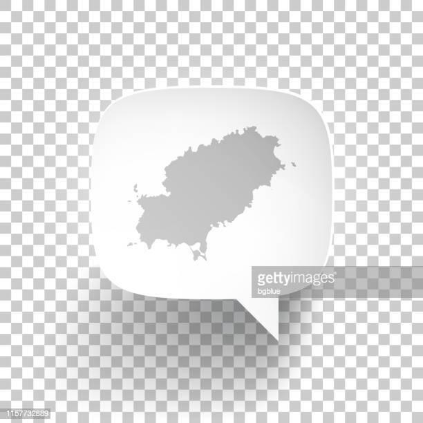 speech bubble with ibiza map on blank background - ibiza island stock illustrations