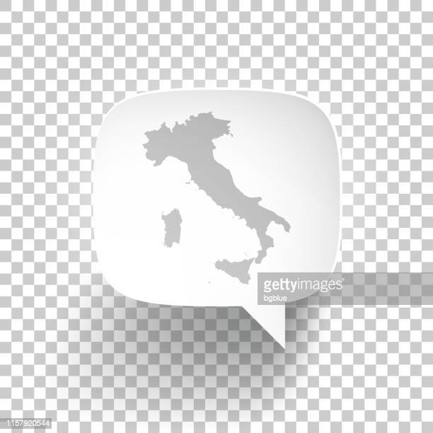 speech bubble with italy map on blank background - sardinia stock illustrations, clip art, cartoons, & icons