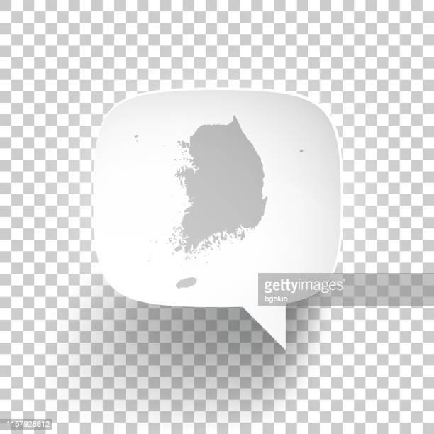 Speech Bubble mit Korea South Karte auf leerem Hintergrund