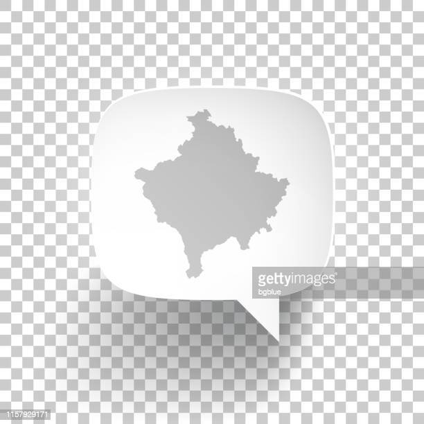 Speech Bubble with Kosovo map on blank background