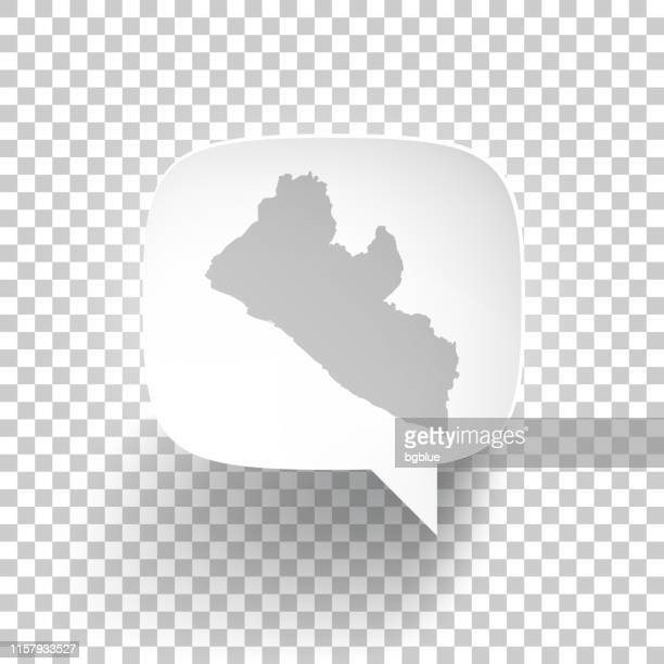 speech bubble with liberia map on blank background - liberia stock illustrations, clip art, cartoons, & icons
