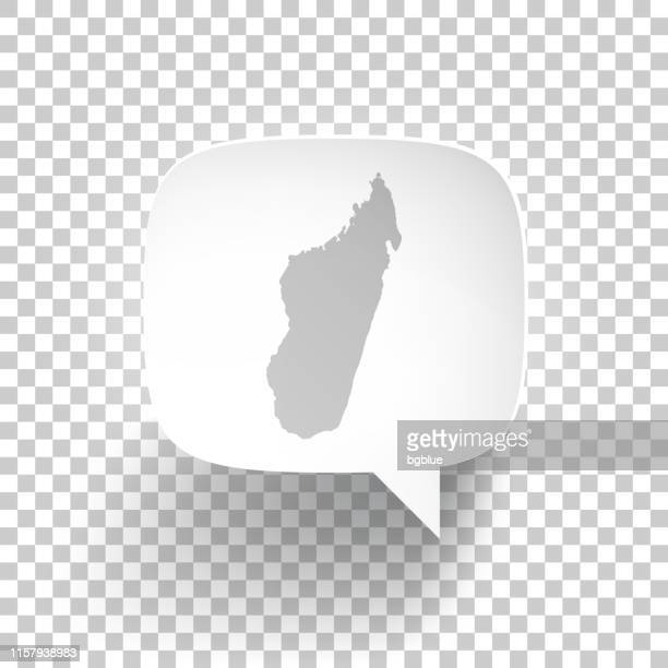 speech bubble with madagascar map on blank background - antananarivo stock illustrations, clip art, cartoons, & icons