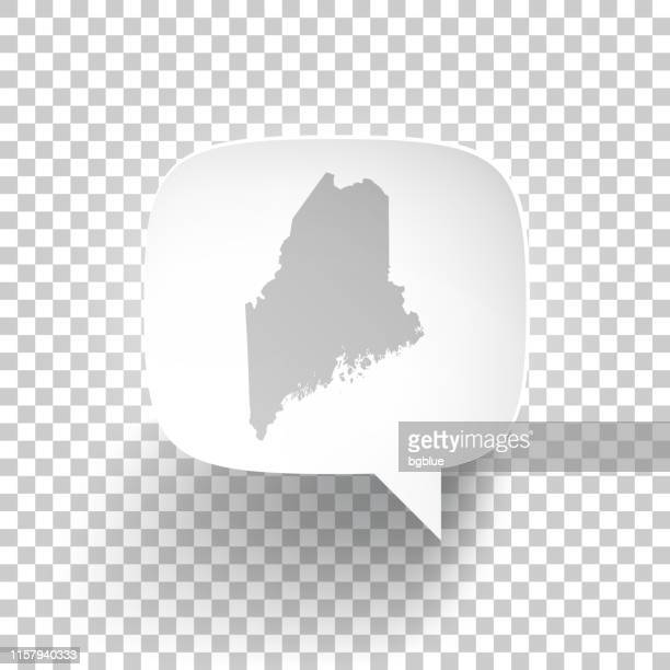 Speech Bubble with Maine map on blank background