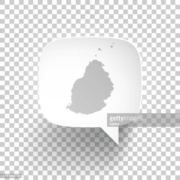 ilustrações, clipart, desenhos animados e ícones de bolha do discurso com mapa de maurícia no fundo em branco - ilhas maurício