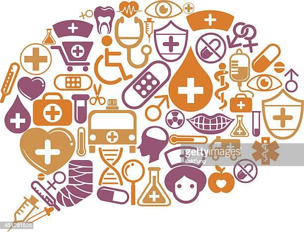 Sprechblase mit medizinischen Symbol