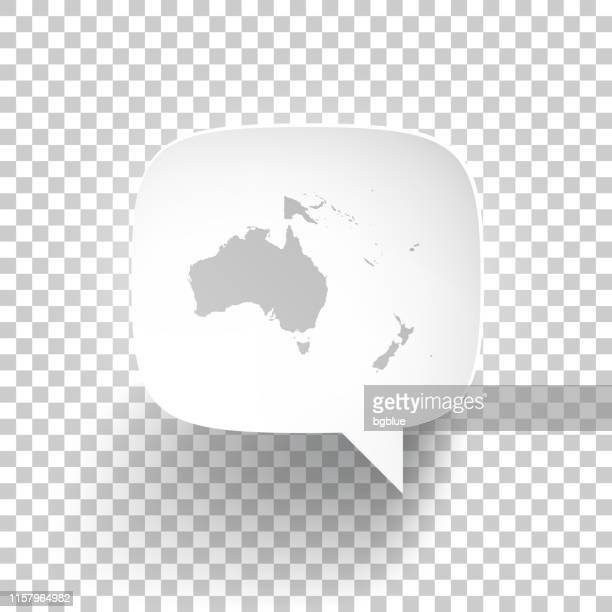 speech bubble with oceania map on blank background - vanuatu stock illustrations