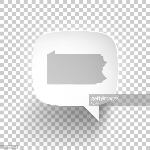 speech bubble with pennsylvania map on blank background - harrisburg pennsylvania stock illustrations