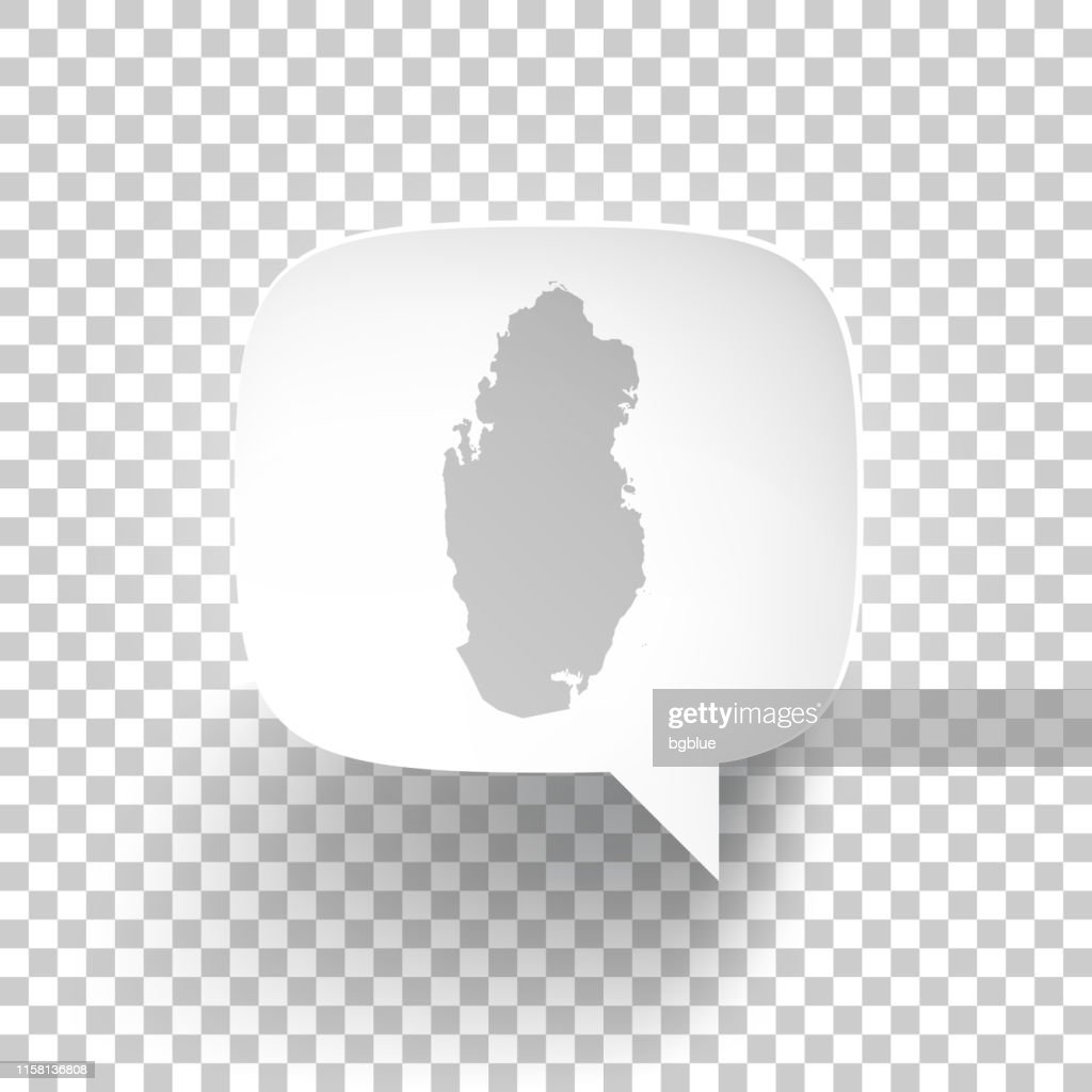 Speech Bubble with Qatar map on blank background : stock illustration