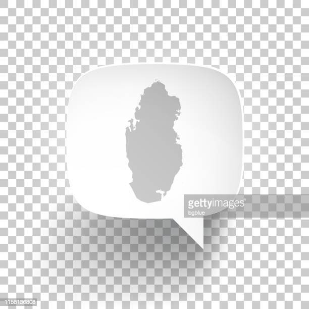 Speech Bubble with Qatar map on blank background