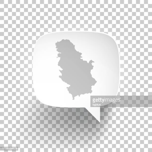 Speech Bubble with Serbia map on blank background