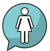 speech bubble with woman avatar figure silhouette icon