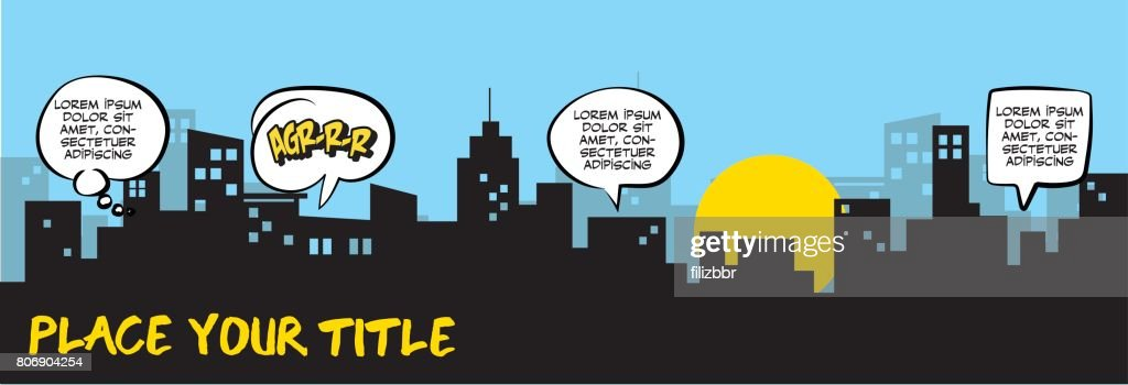 Speech Bubbles and city silhouette