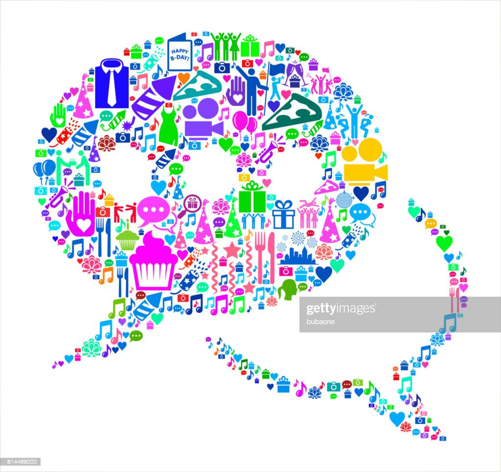 Speech Bubbles Birthday Celebration Vector Icon Pattern