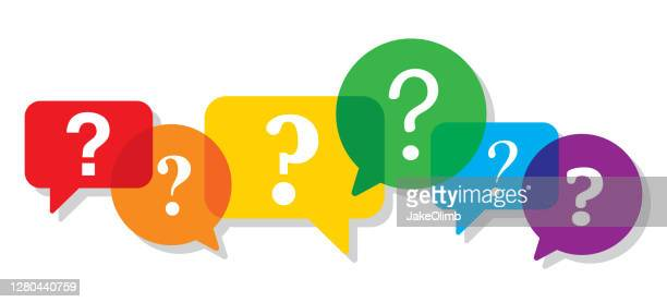 speech bubbles colorful question mark - q and a stock illustrations