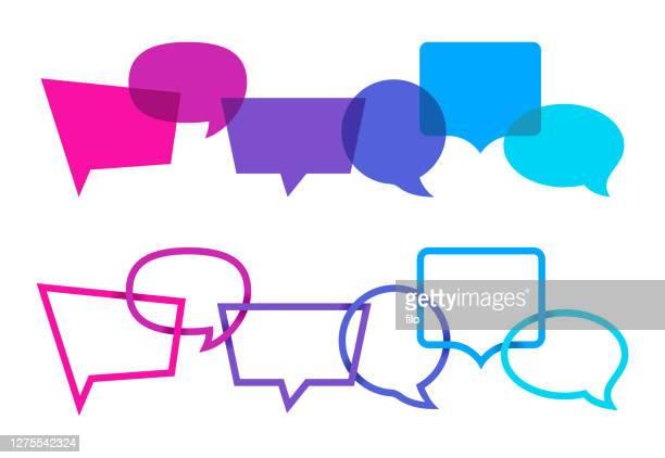 kommunikation mit sprachblasen - instant messaging stock-grafiken, -clipart, -cartoons und -symbole