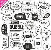 Speech Bubbles Design elements. Black and White Vector Doodle Illustration Set. Editable Stroke.