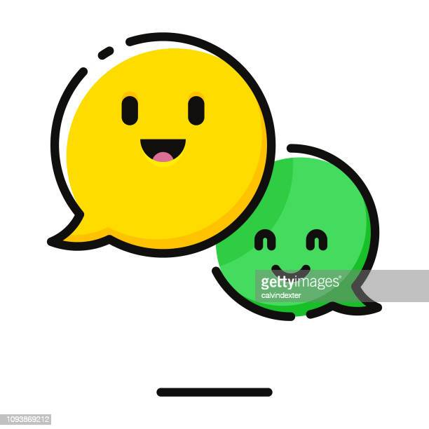 speech bubbles emoticons - smiling stock illustrations