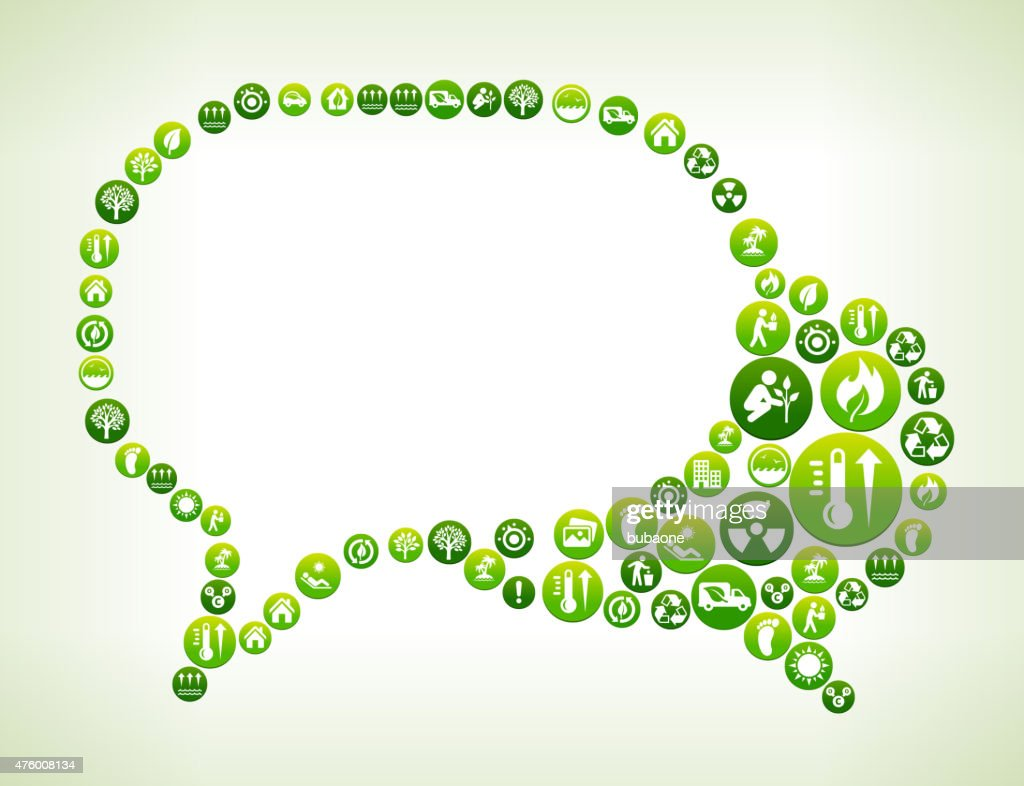 Speech Bubbles Environmental Conservation Green Vector Button Pattern.