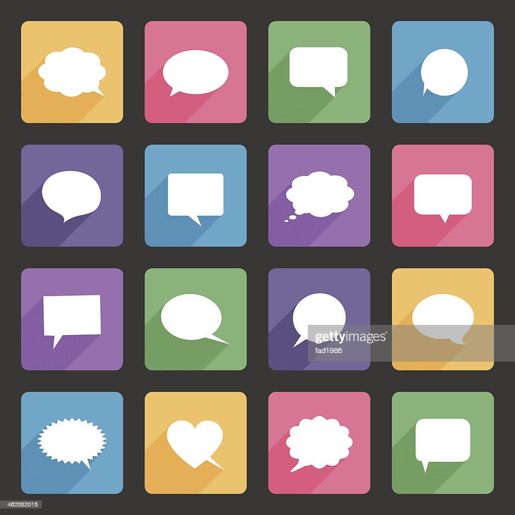 Speech bubbles flat icons set