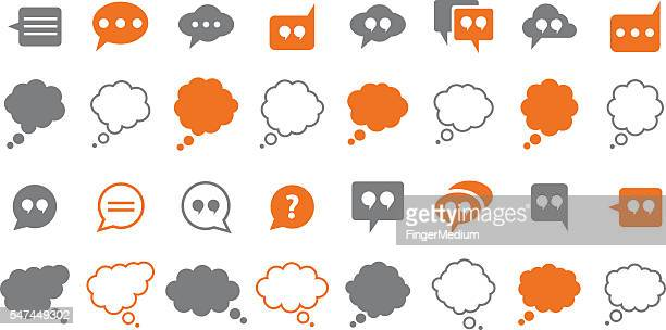ilustrações, clipart, desenhos animados e ícones de discurso bolhas conjunto de ícones - balão símbolo ortográfico