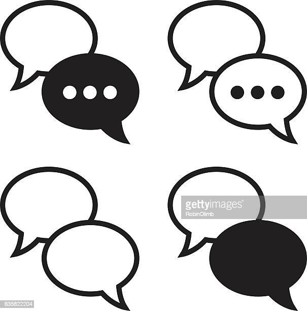 speech bubbles icons - text messaging stock illustrations, clip art, cartoons, & icons