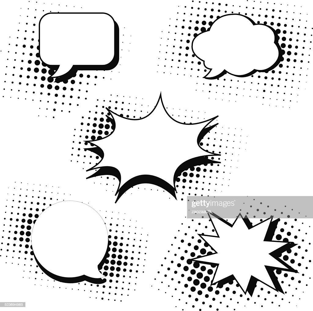 speech bubbles in pop art style set
