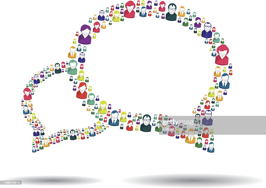 Speech bubbles made up of people icons showing communication