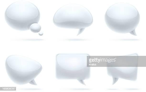 ilustraciones, imágenes clip art, dibujos animados e iconos de stock de conjunto de burbujas de discurso/moderno - cristal material