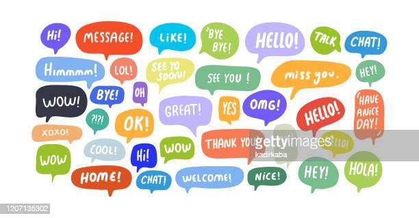 illustrazioni stock, clip art, cartoni animati e icone di tendenza di bolle vocali frasi brevi, grande, messaggio, grazie, ciao, ok, omg, wow, xoxo, oh, no, ciao, nizza, sì - arti e mestieri