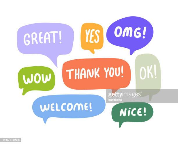 speech bubbles short phrases, great, yes, omg, wow, thank you, ok, welcome, nice - discussion stock illustrations